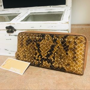 Michael Kors Python Continental Leather Wallet